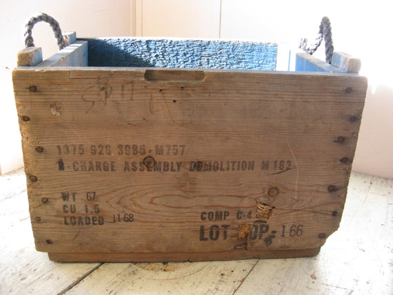 Rustic wooden crate rope handles army ammo box industrial