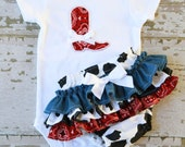 Little Cowgirl Ruffle Bottom Bloomers and Boot Applique Onesie