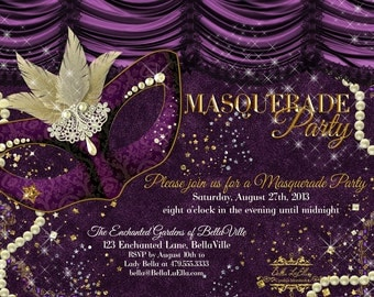 Masquerade Invitation, Mardi Gras Party, Masquerade Party