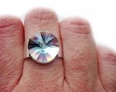 Silver Lining Rare Vintage Swarovski Crystal Ring