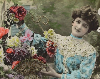 French Edwardian Postcard - Woman with Basket of Flowers