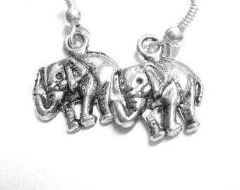 Small Silver Elephant Earrings - Baby Elephant Jewelry Gray African Animal Dangle Earrings 055