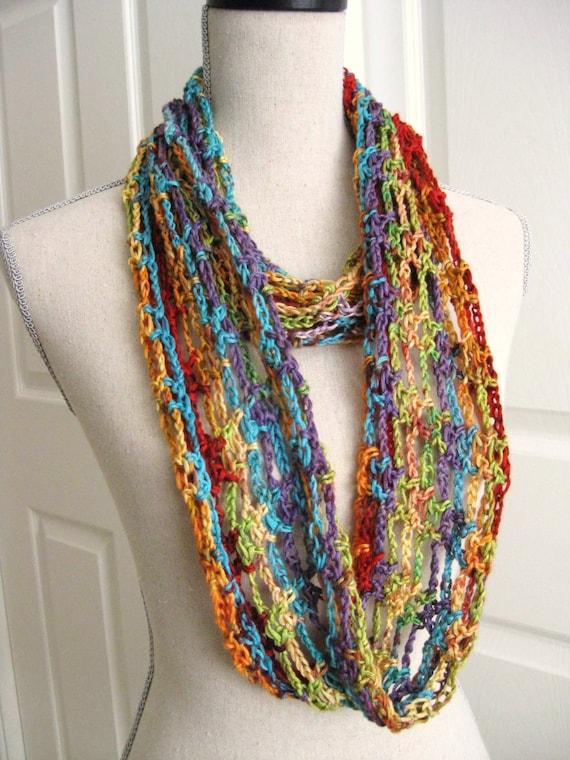 Crochet Lacy Cowl Infinity Scarf Rainbow Colors