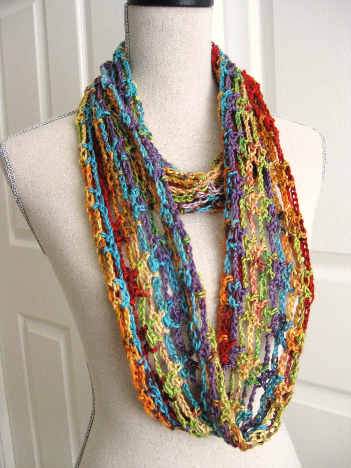 Crochet Lacy Cowl Infinity Scarf Rainbow Colors