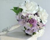 Gardenia wedding bouquet white lavender rose bridal bouquet