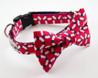Red Lifesaver Nautical Bow Tie Dog Collar