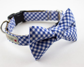 Royal Blue Gingham Bow Tie Dog Collar