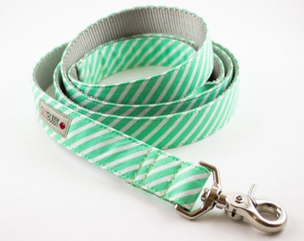 Mint Stripes Dog Leash