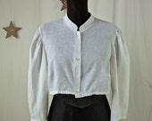 Vintage Blouse Cropped Midriff White Cotton 60's Dirndl Blouse size Medium
