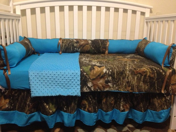 Items Similar To Camo Mossy Oak And Turquoise 4 Pc Crib Bedding Set With Minky Dots And FREE