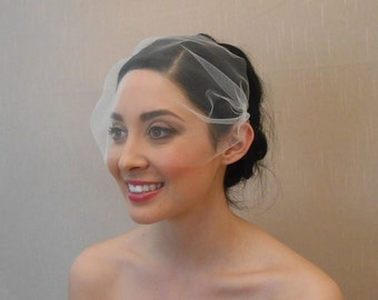 Wedding tulle bandeau style birdcage veil in ivory, white, blush, champagne, black - Ready to ship in 1 week