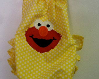 Elmo Yellow Polka Dot Ruffled Sunsuit- Newborn to 2T