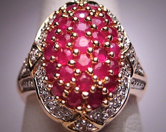 Antique Style Ruby Diamond Ring Wedding Vintage 14K
