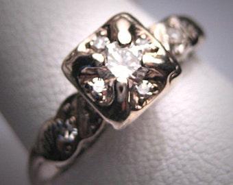 Antique Diamond Wedding Ring Vintage Art Deco Bridal