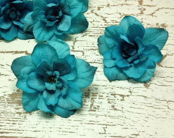 5 TURQUOISE Delphinium Blossoms - Aqua Blue Green, Artificial Flowers, Silk Flowers, Millinery, Flower Crown