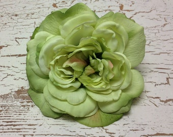 Silk Flowers - One Jumbo Fully Bloomed APPLE GREEN Sophia Rose - 5.5 Inches - Artificial Flowers
