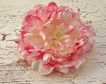 Silk Flowers - One Peony in Shades of Pink with Fuchsia and Cream White - 6 Inches - Artificial Flowers