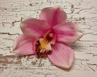 Silk Flowers - ONE JUMBO Pink Orchid - 4 PLUS Inches - Artificial Orchids