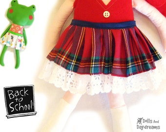 Pleated Doll Skirt PDF Sewing Pattern Easy Doll Clothes