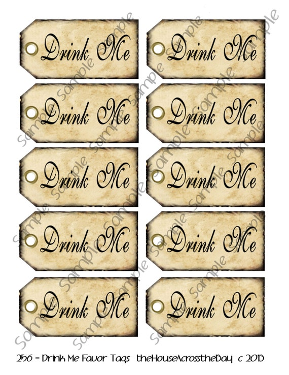 alice in wonderland tags template - drink me favor tags digital collage sheet by