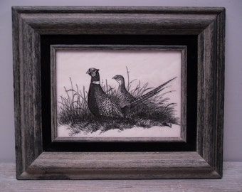 vintage etched tile picture / pheasants / framed / black and white