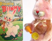 Vintage 50s Pink Picnic Bunny Drinking Rabbit Toy - Funky Battery Operated Tin Litho Alps Japan Easter Bunny Character Novelty Original Box