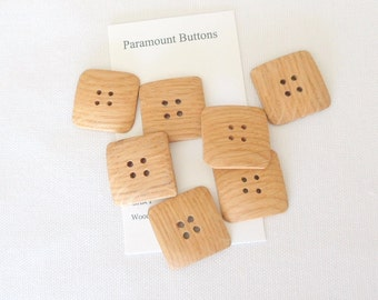 7 Oak Wood Buttons Handmade 1 Inch Square Buttons