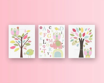 Baby Girl Room Baby girl nursery First we had Nursery Art Kids room decor Pink Green Elephant owl tree bird Set of 3 prints Hayley Owl art