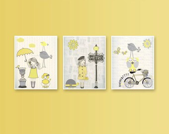 Nursery wall art print, Baby room decor, Baby room, Paris Metro ...set of 3 8x10 shabby chic, vintage style nursery...YELLOW AND GRAY
