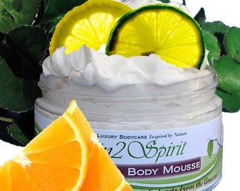 CITRUS SUN DROPS Shea Body Butter / Mousse - Organic - Whipped - Citrus Mix - Truly All Natural - Real Fruit - Aromatherapy