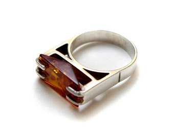 Rectangle Amber and Silver Ring