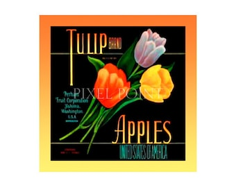 Small Journal - Tulip Brand Apples - Fruit Crate Art Print Cover