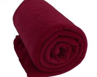 Maroon Fleece Blanket - Monogrammed