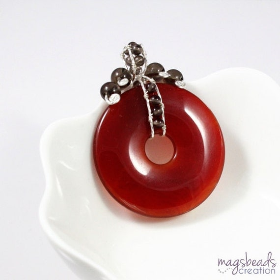 Wirewrapped Red Agate Pendant