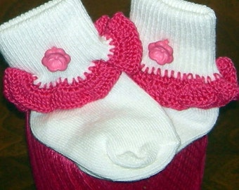 Infant Size 0-5 Hot Pink Flower on Hot Pink Crocheted Ruffle Trim Socks - 12 to 24 Months