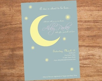 Celestial Moon And Stars Custom Shower Or Party Printable Invitation