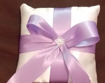 white lavander satin ring bearer pillow