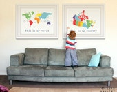 Set of 2 world map and country map poster wall art for playroom, kids wall art. SET OF 2 prints by WallFry