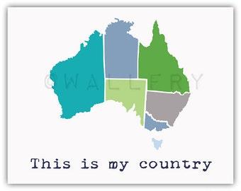 Map of Australia. Playroom wall art country map for kids. Playroom artwork world maps. Modern map print Australia nursery print by WallFry