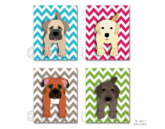 Chevron Dog prints. Pick Any 4 dogs. Baby nursery art, kids wall art. Children dog nursery decor. 4 prints by WallFry