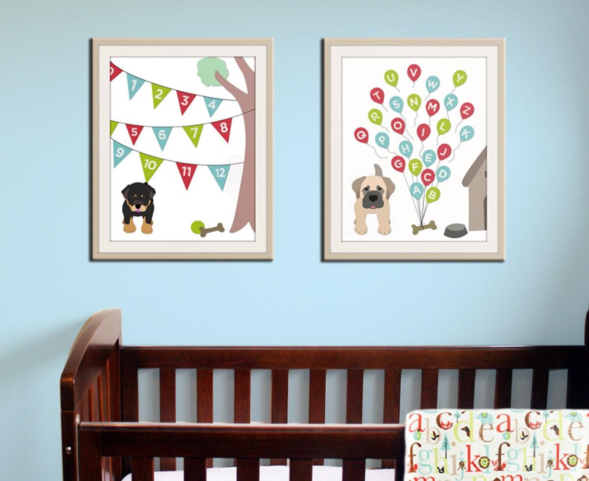 Baby nursery art print dog abc nursery decor alphabet print for Alphabet mural nursery