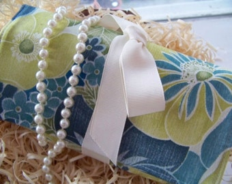 """Jewelry Roll-Up Travel Clutch in """"Sunshine Floral"""" Fabric by Legacy  (Bridesmaid Packages Available)"""