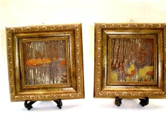 Antique Embroidery Wall Pictures , Holiday gift, Wall Gold wood frame,  Shabby chic Decor, Home Decor, Country landscape pictures