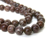 8mm Brown Snowflake Jasper beads, round natural gemstone, full & half strands available  (638S)