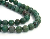 African Jade Beads,  10mm round green gemstone, full & half strands available  (708S)