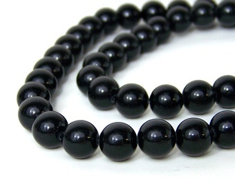 10mm round Obsidian beads, natural black gemstone, FULL & HALF strands available  (595S)