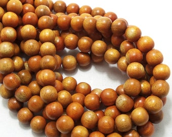 Sibucao Wood, 10mm, Round, Smooth, Natural Redwood Beads, Full 16 Inch Strand, 40pcs - ID 1402