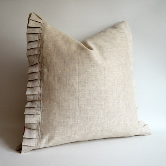 Sukan 100 Percent Natural Ruffle Linen Pillow Cover by sukanart