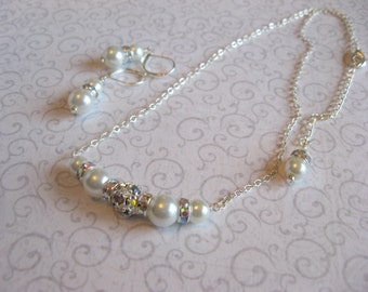 Wedding Necklace and Earring Set - Swarovski Rhinestone Crystal AB and Pearl Bride or Bridesmaid Necklace and Earring Set/Wedding Jewelry