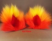 Extra Fluffy Flame Three Color Fuzzy Cat Ear Clips Yellow Red Orange with or without Tail